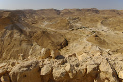 Looking west from the fotress of Masada. Royalty Free Stock Images