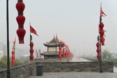 City Wall of Xian from West Gate Royalty Free Stock Image