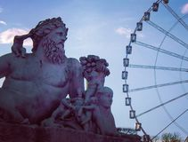Looking at the wheel, sculture  at Les Tuileries Paris royalty free stock image