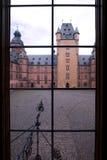 Looking through Window. Castle Courtyard through Window, near Frankfurt Royalty Free Stock Photos
