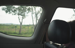 Looking through window from car interior. Travel on weekend Stock Photos