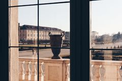 Looking from a window in a luxury villa with old vase somewhere in italy royalty free stock photos