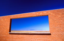 Looking through window at Meteor Crater Arizona USA Stock Image