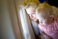 Looking through the window of the plane Stock Photography