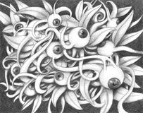 Looking at you kid. Bizarre pencil picture with lots of eyes and leaves Royalty Free Stock Image