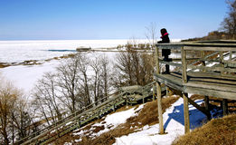 Lookout. A view of Lake Huron from a lookout in Brucefield Ontario Stock Image