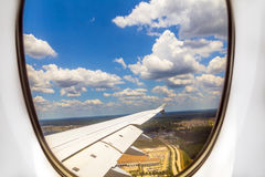 Lookout of aircraft window Royalty Free Stock Photos