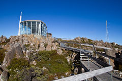 Lookout Building at Mt Wellington. Lookout building with the main TV and radio transmitter at the back stock photo