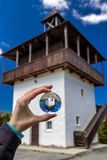 Lookout called Veža in village Velke Borove, Slovakia. Reflection in lensball royalty free stock images