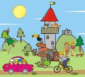Lookout. Children and animals. Amusing illustration Royalty Free Stock Photos