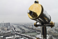 Lookout from Eiffel tower with Sena river at the background Royalty Free Stock Photos