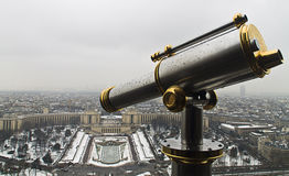 Lookout from Eiffel tower with Trocadero Squaer at the background. Lookout with a spyglass from Eiffel tower with Trocadero Square at the background Stock Image