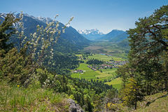 Lookout from hiking trail to loisach valley and zugspitze Stock Image