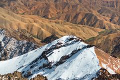 Lookout from Jebel Toubkal, highest mountain of North Africa. Trekking to Toubkal stock images