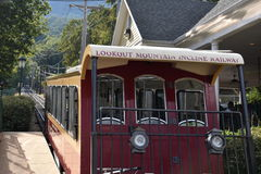 The Lookout Mountain Incline Railway in Chattanooga, Tennessee. It is billed as one of the worlds steepest passenger railways Stock Image