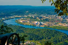 Lookout Mountain vantage. Civil War cannon on Lookout Mountain aiming toward Chattanooga, Tennessee Stock Photos