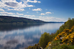 Lookout over Loch Ness. With refelctions of clouds, Scotland Stock Photo