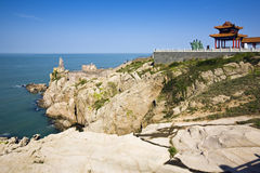 Lookout point. A rock lookout point overlooking the sea Royalty Free Stock Photos