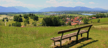 Lookout point with bench, bavarian foothills Royalty Free Stock Photography