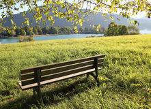 Lookout point with bench, tegernsee, germany Stock Photography