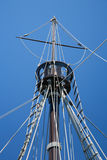 Lookout point of boat caravel. Detail of crow nest and rigging ropes in replica of ancient boat caravel of Christopher Columbus when discovered America in 1492 Royalty Free Stock Image