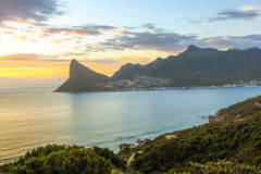 Lookout Point Cape Town. The Lookout Point at sunset in Hout Bay from the famous and scenic Chapman`s Peak Drive in Cape Town, South Africa Stock Photo