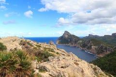 Lookout point Mirador Es Colomer at Cap de Formentor cliff coast and Mediterranean Sea, Majorca stock photography