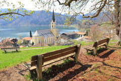 Lookout point to schliersee village with benches Stock Images