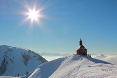 Lookout point wallberg with chapel, winter landscape germany Royalty Free Stock Photo