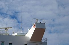 LOOKOUT POST ON LARGE SEAFARING SHIP Royalty Free Stock Image