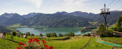 Lookout from schliersbergalm, lake schliersee and alps Royalty Free Stock Photography