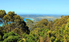 Lookout on a sea and forest. On a mountain at the Arthurs Seat, Victoria, Australia Royalty Free Stock Images