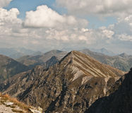 Lookout from Spalena peak in Rohace mountains. Lookout to east from Spalena peak in part of Tatry mountains called Rohace stock photography