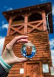 Lookout Spicak in lensball, Slovakia. Reflection of lookout Spicak in lensball, Slovaia stock photo