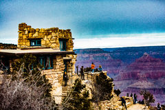 Lookout Studio @ Grand Canyon. Grand Canyon NP, Arizona, USA - December 21, 2016:  Panorama of the Grand Canyon and the Lookout Studio as seen from the south rim Royalty Free Stock Images