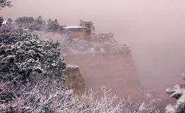 Lookout studio on the South Rim, snowy January morning. Stock Images