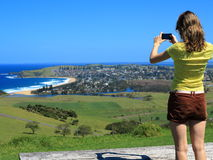 Lookout to village in coastal landscape Stock Photography