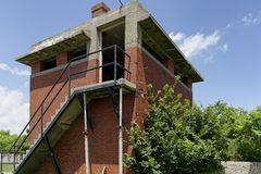 Lookout Tower Above Roof Stock Images
