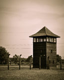 Lookout tower at Auschwitz - Birkenau concentration camp, Poland Royalty Free Stock Image