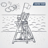 Lookout tower on beach vector. Hand drawn Royalty Free Stock Photography