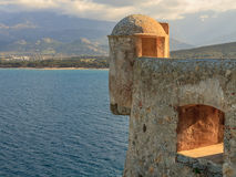 A lookout tower in the citadel at Calvi, Corsica royalty free stock image