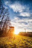 Lookout tower for hunting at dawn Stock Images