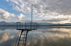 Lookout tower of Liptovska Mara lake. Liptovsky Trnovec village, Slovakia. royalty free stock photography