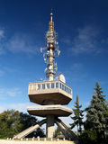 Lookout tower in Miskolc, Hungary. Concrete structure lookout and antenna tower in Miskolc, Hungary Stock Images