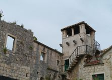 A lookout tower in the old town of Korcula Royalty Free Stock Photo