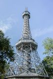 Lookout tower Petrin in Prague. With blue sky stock photos