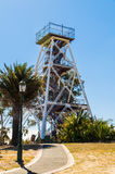 Lookout tower in Rosalind Park in Bendigo, Australia. The poppet head lookout tower in Rosalind Park in Bendigo, Australia was erected in 1931. It is a former stock images