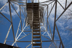 Lookout Tower Stairs. Looking up the stairs of a lookout tower stock photo