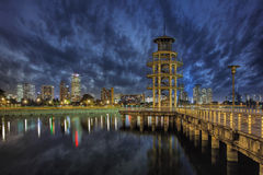 The Lookout Tower at Tanjong Rhu. Housing District in Singapore at Blue Hour Royalty Free Stock Photography