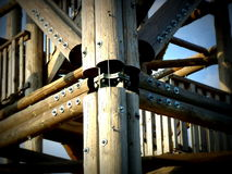 Lookout tower - wooden joint. Bohdanka Lookout tower wooden-steel joint detail royalty free stock photo